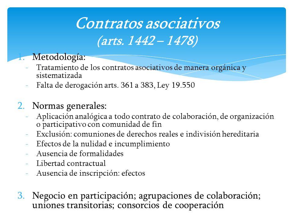 Contratos asociativos (arts. 1442 – 1478)
