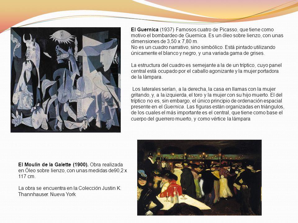 El Guernica (1937) Famosos cuatro de Picasso, que tiene como motivo el bombardeo de Guernica. Es un óleo sobre lienzo, con unas dimensiones de 3,50 x 7,80 m.