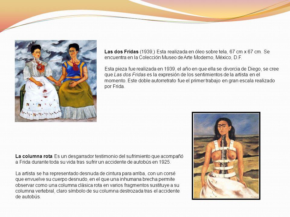 Las dos Fridas (1939,) Esta realizada en óleo sobre tela, 67 cm x 67 cm. Se encuentra en la Colección Museo de Arte Moderno, México, D.F.