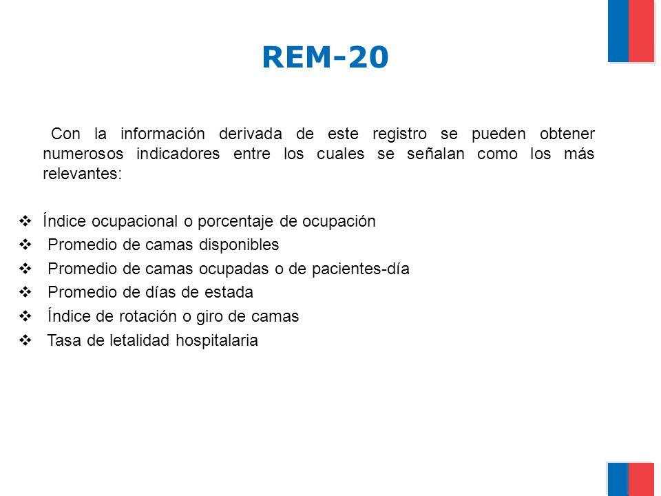 REM-20 Con la información derivada de este registro se pueden obtener numerosos indicadores entre los cuales se señalan como los más relevantes: