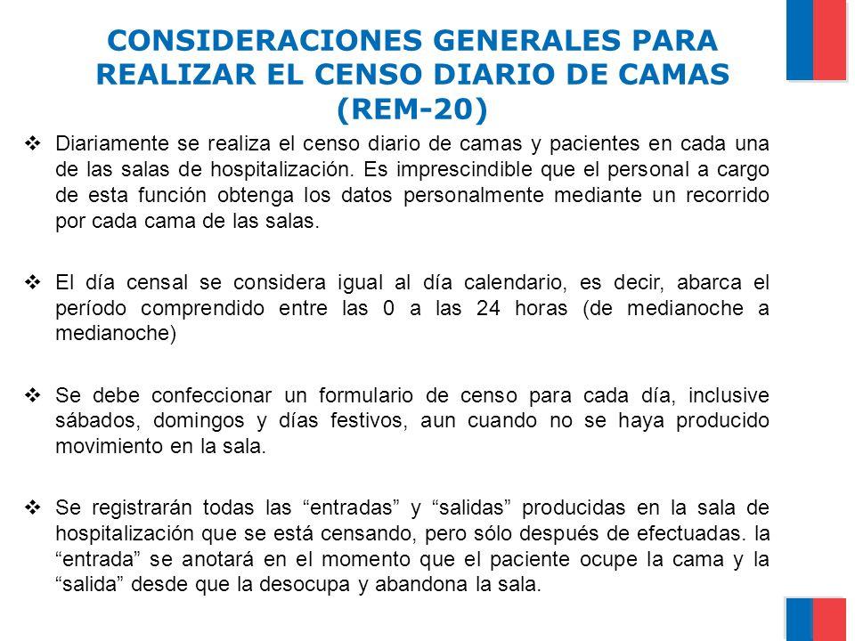 CONSIDERACIONES GENERALES PARA REALIZAR EL CENSO DIARIO DE CAMAS (REM-20)