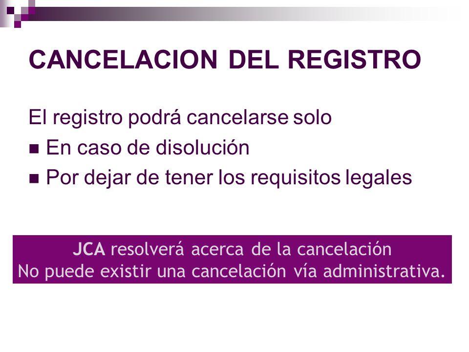 CANCELACION DEL REGISTRO