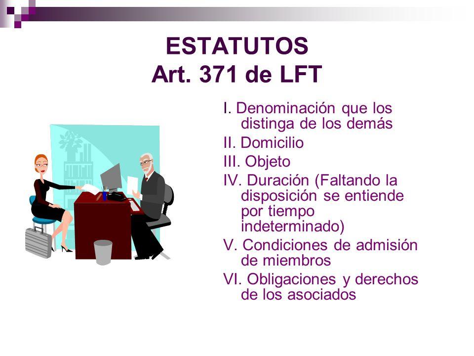 ESTATUTOS Art. 371 de LFT I. Denominación que los distinga de los demás. II. Domicilio. III. Objeto.