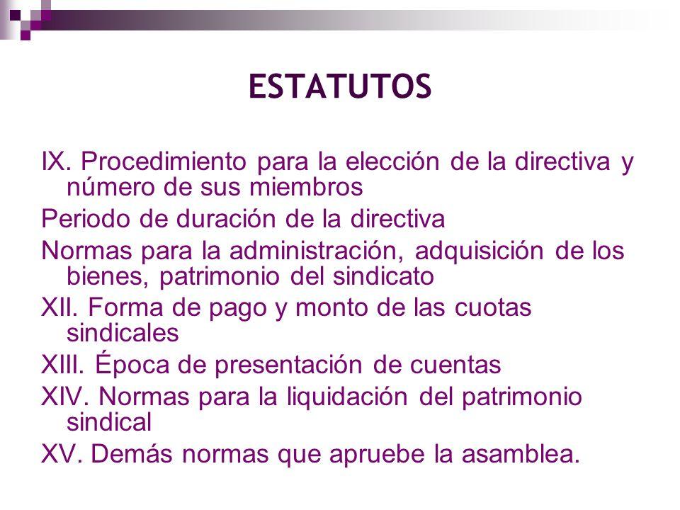 ESTATUTOS IX. Procedimiento para la elección de la directiva y número de sus miembros. Periodo de duración de la directiva.