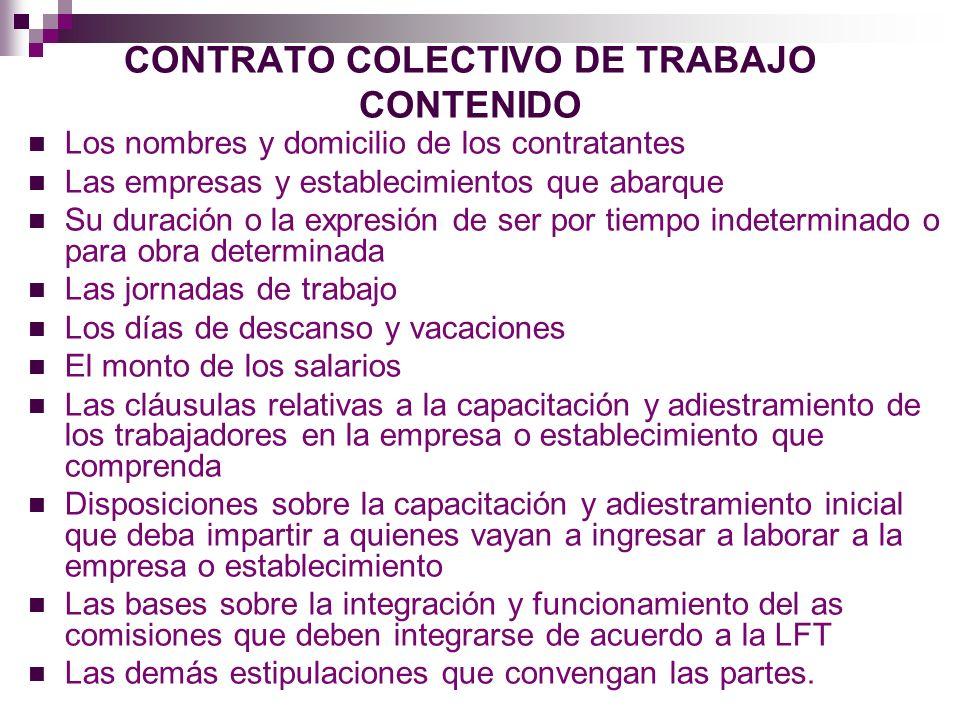 CONTRATO COLECTIVO DE TRABAJO CONTENIDO