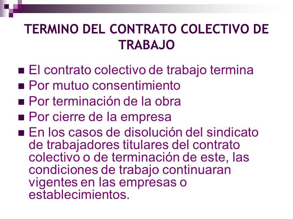 TERMINO DEL CONTRATO COLECTIVO DE TRABAJO