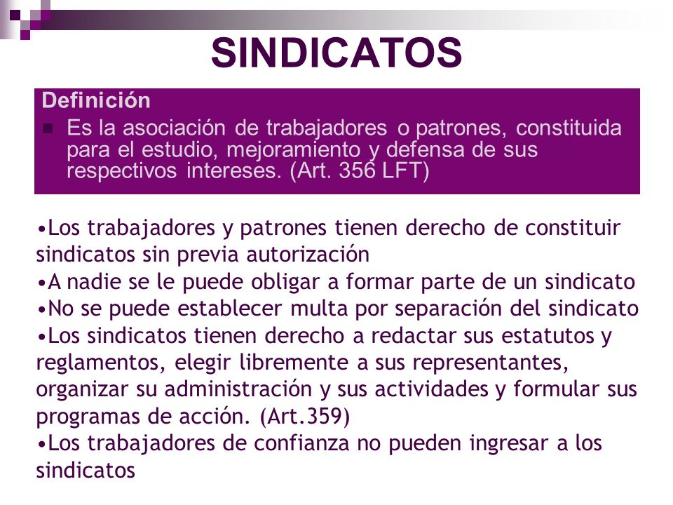 SINDICATOS Definición