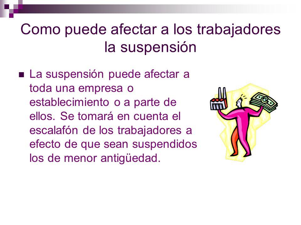 Como puede afectar a los trabajadores la suspensión