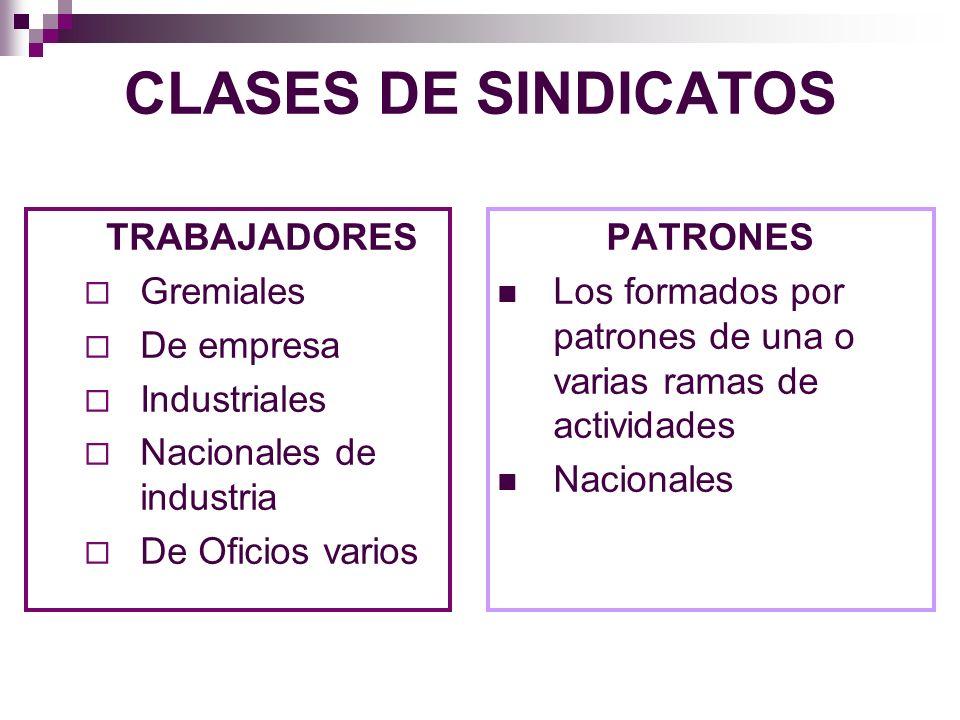 CLASES DE SINDICATOS TRABAJADORES Gremiales De empresa Industriales
