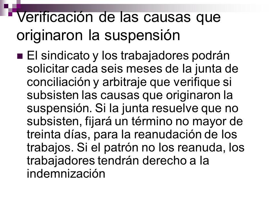 Verificación de las causas que originaron la suspensión