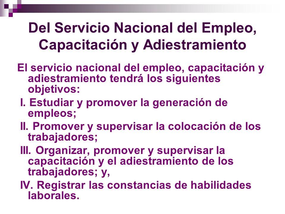 Del Servicio Nacional del Empleo, Capacitación y Adiestramiento