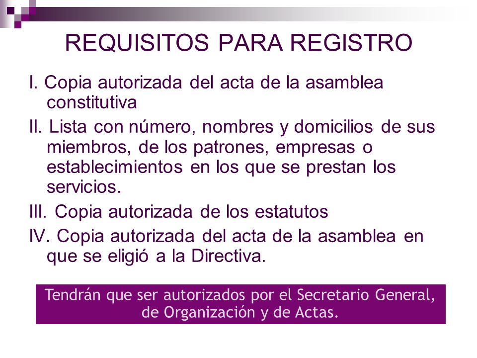 REQUISITOS PARA REGISTRO