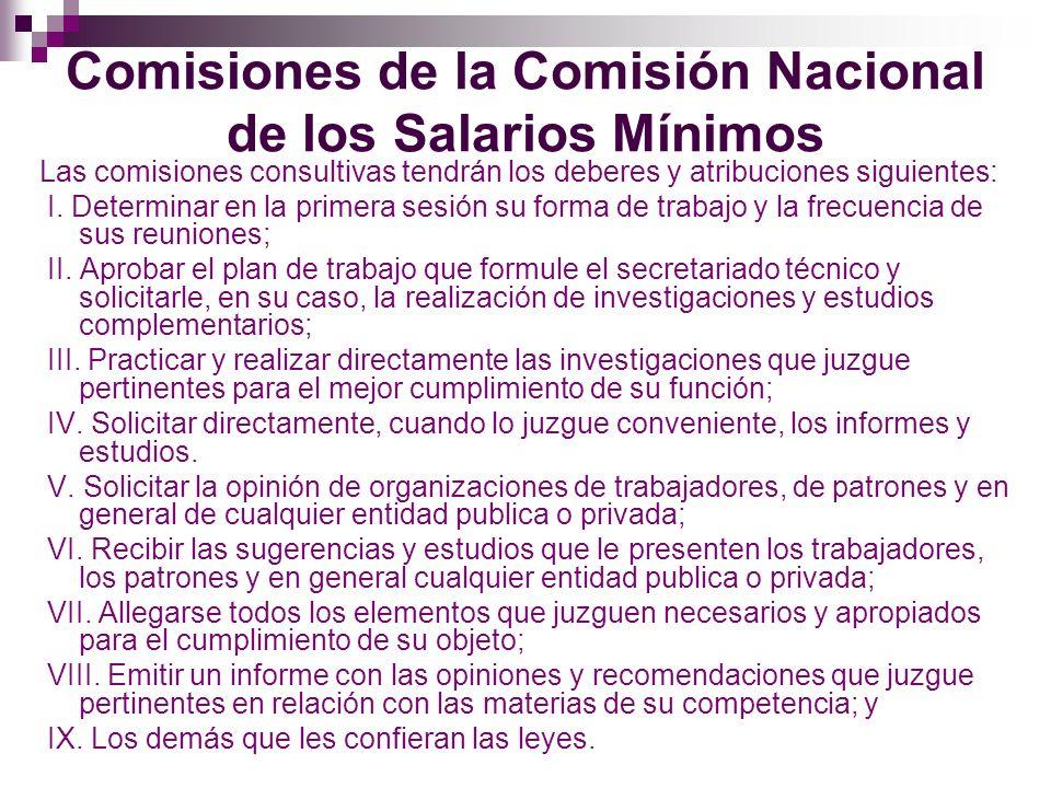 Comisiones de la Comisión Nacional de los Salarios Mínimos