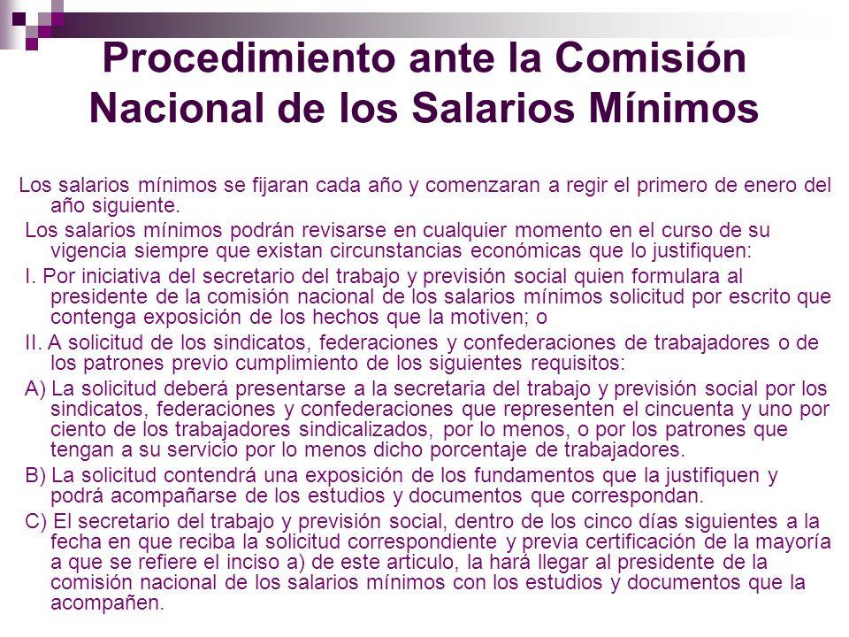 Procedimiento ante la Comisión Nacional de los Salarios Mínimos