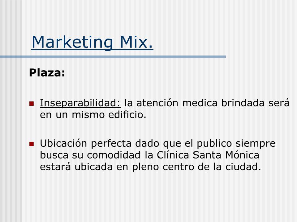 Marketing Mix. Plaza: Inseparabilidad: la atención medica brindada será en un mismo edificio.