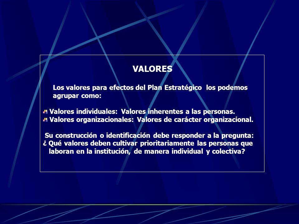 VALORES Los valores para efectos del Plan Estratégico los podemos