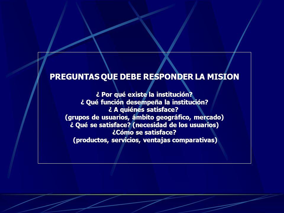 PREGUNTAS QUE DEBE RESPONDER LA MISION