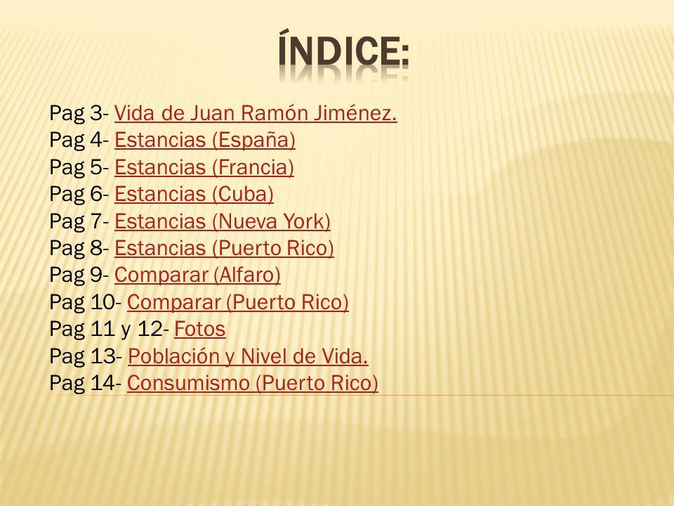 Índice: Pag 3- Vida de Juan Ramón Jiménez. Pag 4- Estancias (España)