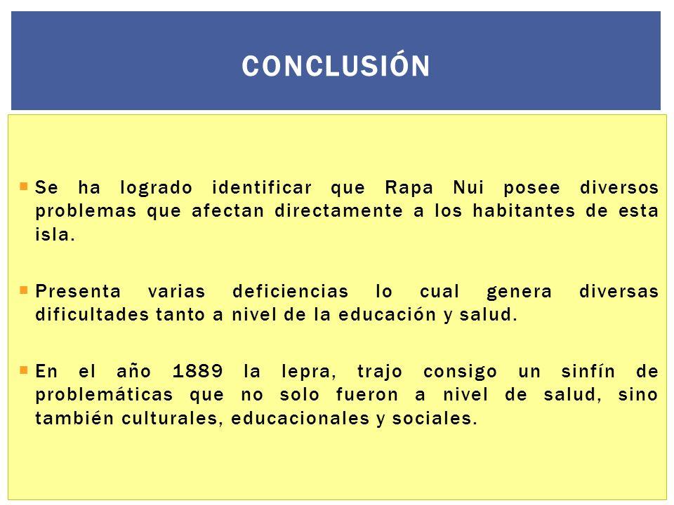 Conclusión Se ha logrado identificar que Rapa Nui posee diversos problemas que afectan directamente a los habitantes de esta isla.
