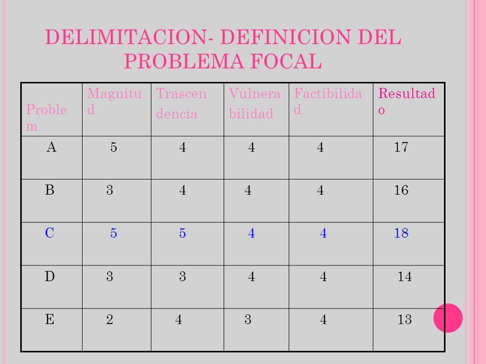 DELIMITACION- DEFINICION DEL PROBLEMA FOCAL