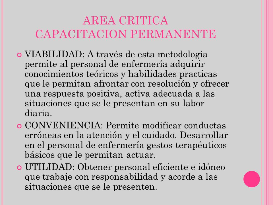 AREA CRITICA CAPACITACION PERMANENTE