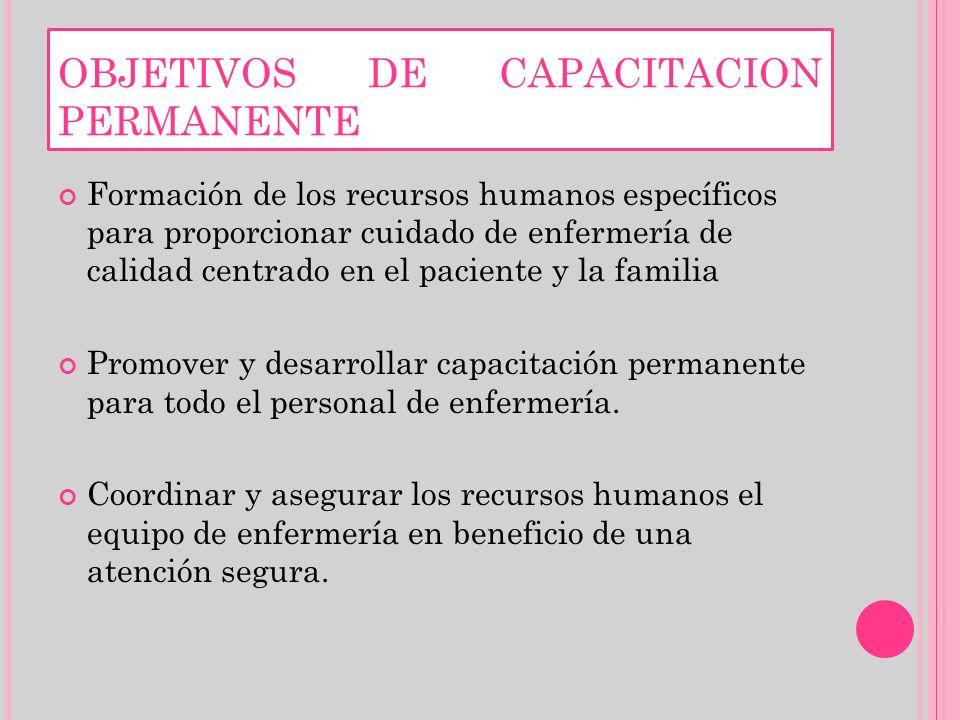 OBJETIVOS DE CAPACITACION PERMANENTE