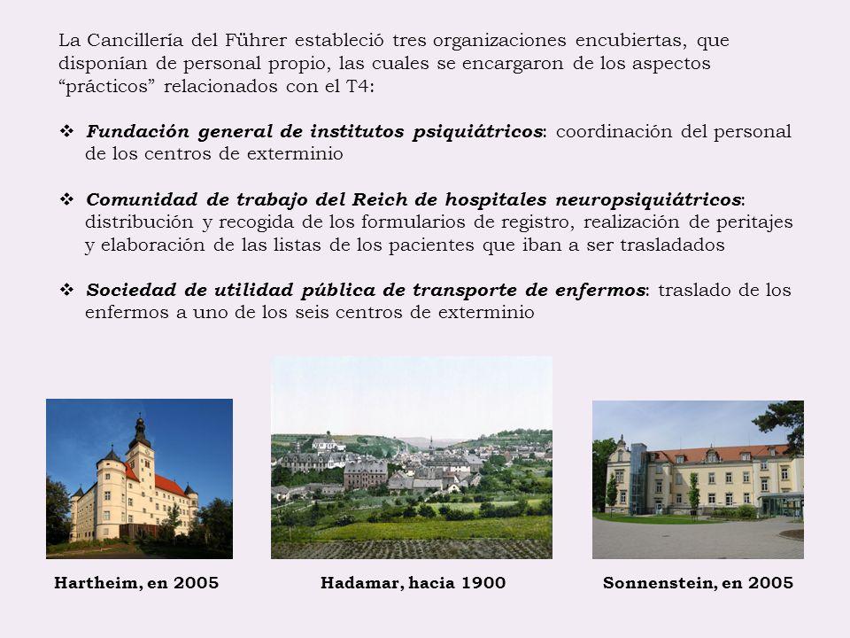 Hartheim, en 2005 Hadamar, hacia 1900 Sonnenstein, en 2005