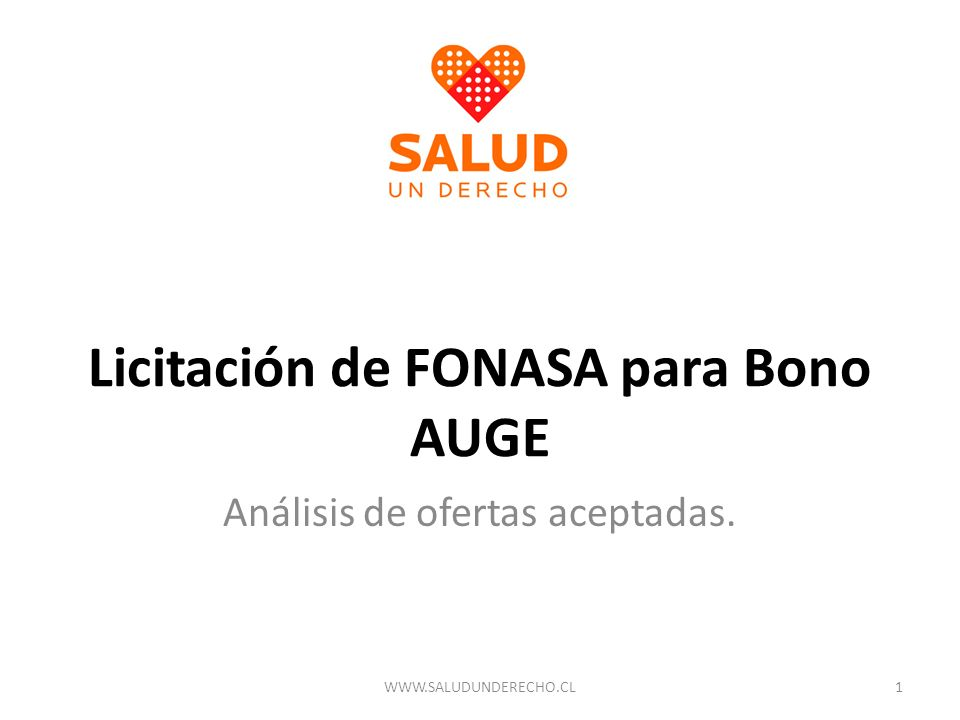 Licitación de FONASA para Bono AUGE