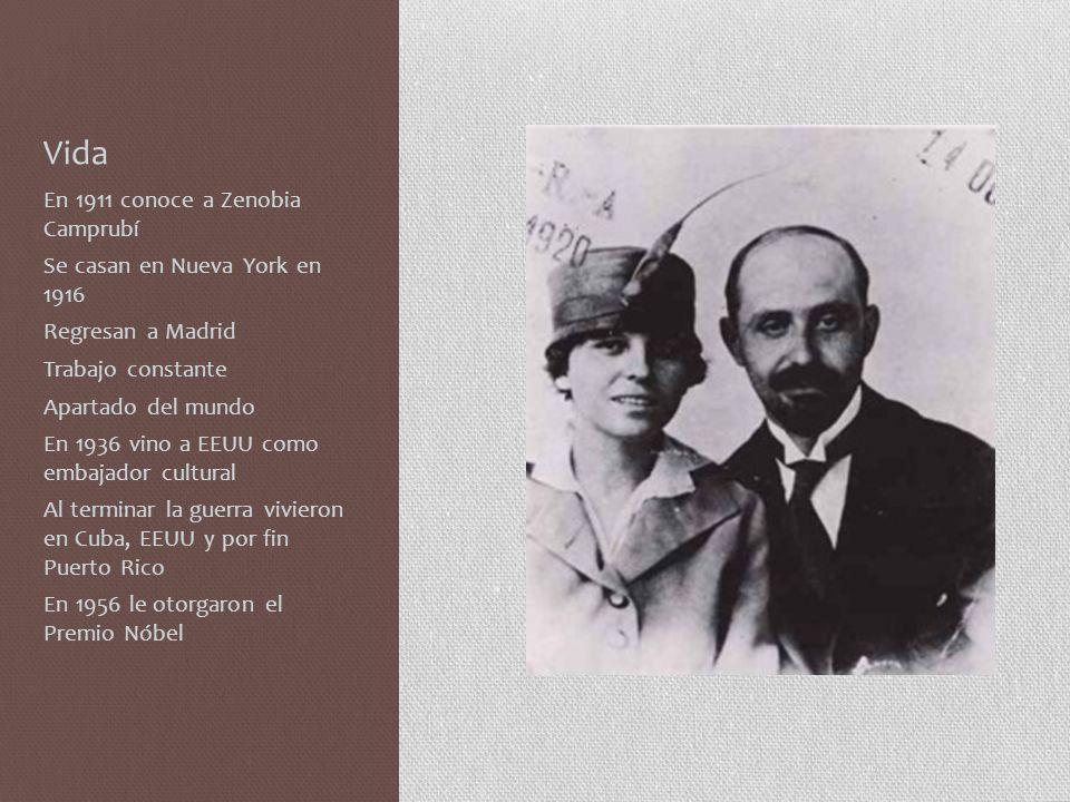 Vida En 1911 conoce a Zenobia Camprubí Se casan en Nueva York en 1916