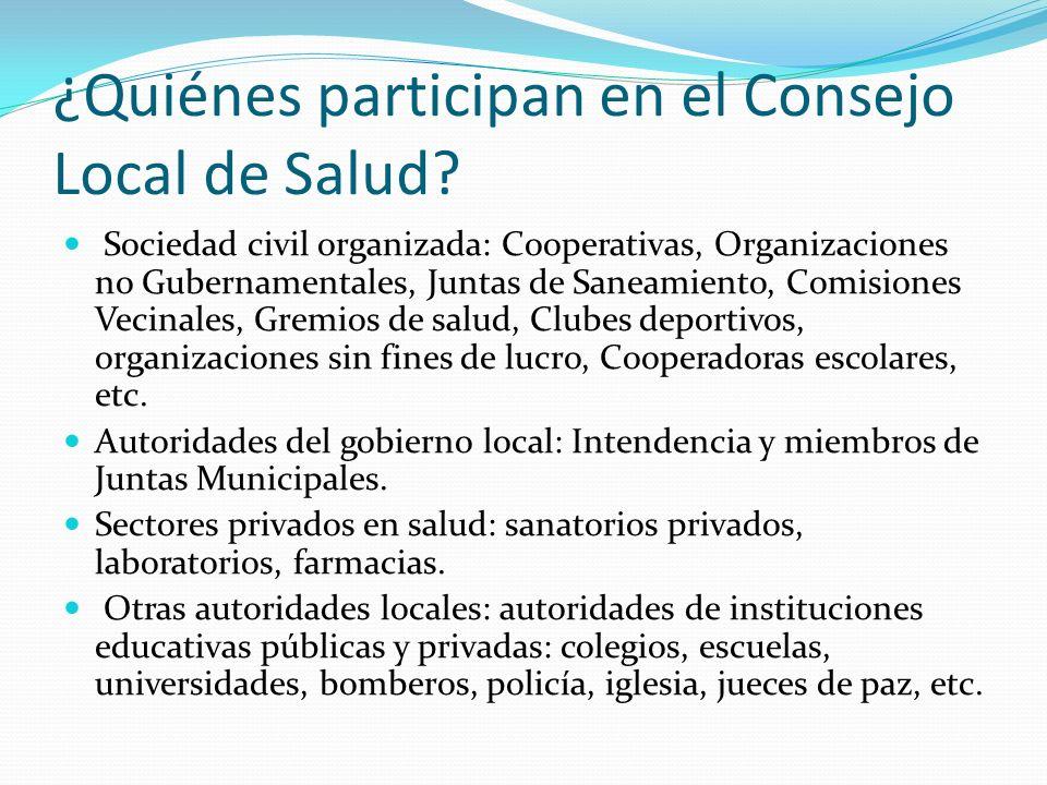 ¿Quiénes participan en el Consejo Local de Salud