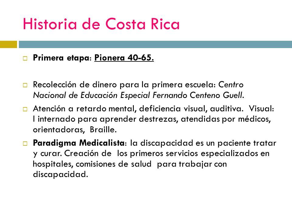 Historia de Costa Rica Primera etapa: Pionera 40-65.
