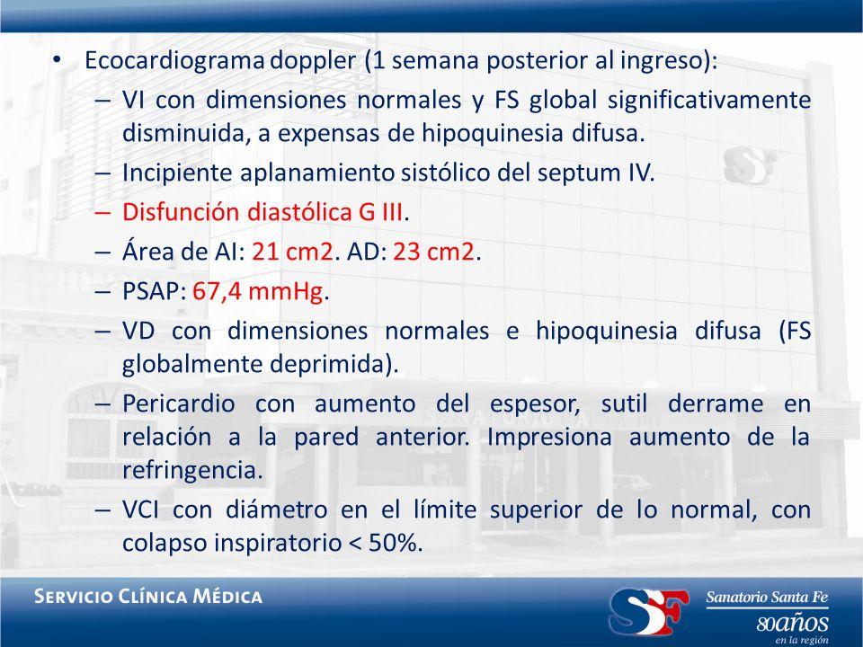 Ecocardiograma doppler (1 semana posterior al ingreso):
