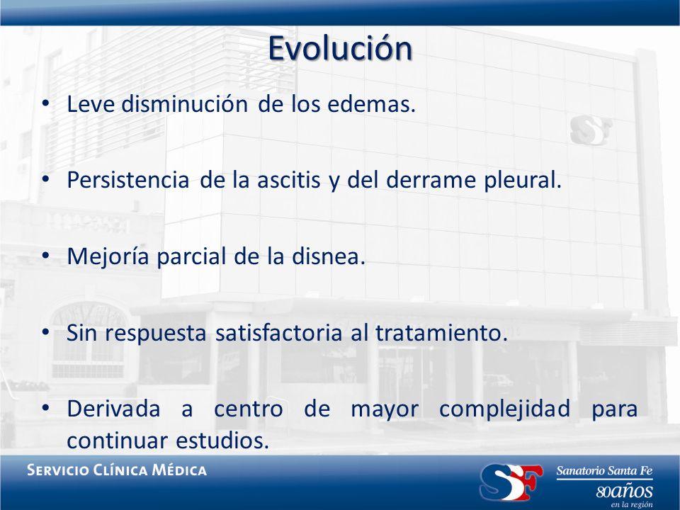 Evolución Leve disminución de los edemas.