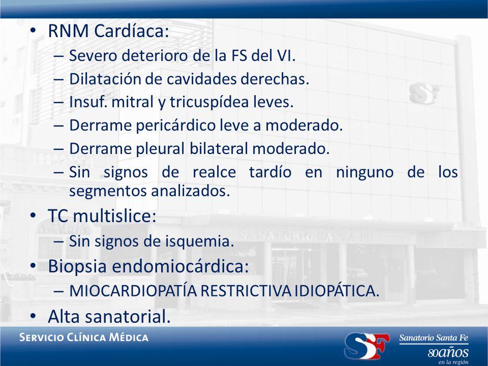 Biopsia endomiocárdica: Alta sanatorial.