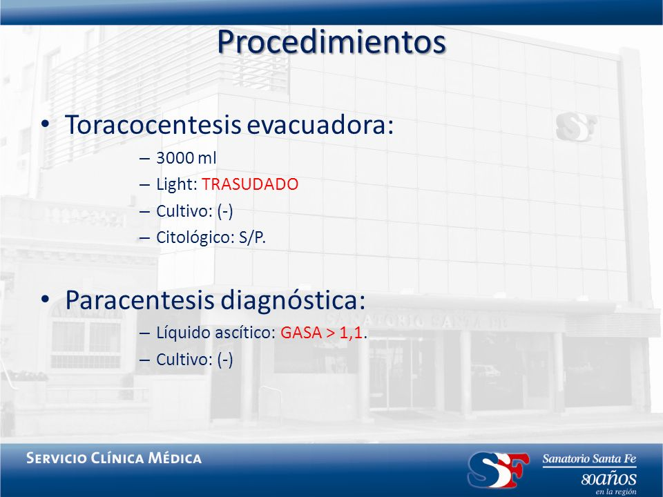 Procedimientos Toracocentesis evacuadora: Paracentesis diagnóstica: