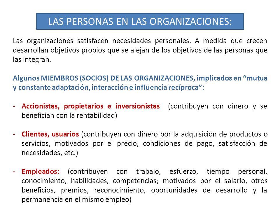 LAS PERSONAS EN LAS ORGANIZACIONES: