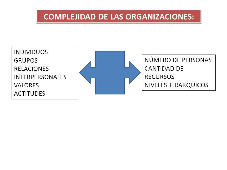 COMPLEJIDAD DE LAS ORGANIZACIONES: