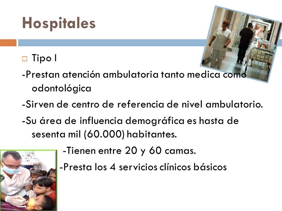 Hospitales Tipo I. -Prestan atención ambulatoria tanto medica como odontológica. -Sirven de centro de referencia de nivel ambulatorio.