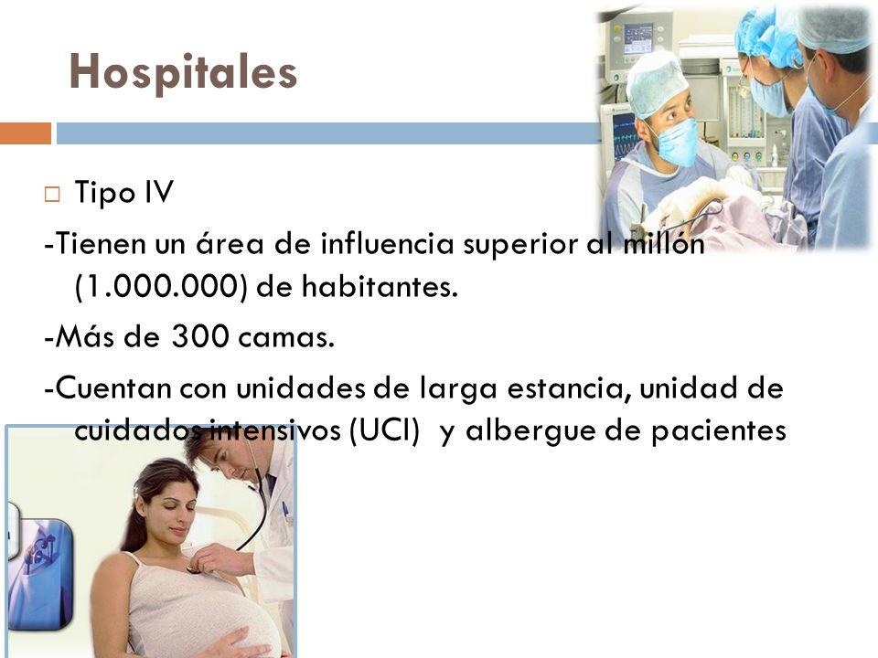 Hospitales Tipo IV. -Tienen un área de influencia superior al millón (1.000.000) de habitantes. -Más de 300 camas.
