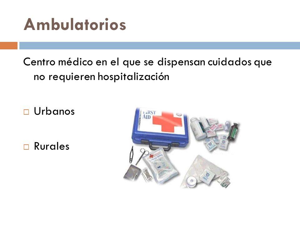 Ambulatorios Centro médico en el que se dispensan cuidados que no requieren hospitalización. Urbanos.