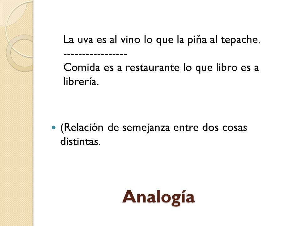 Analogía La uva es al vino lo que la piňa al tepache.