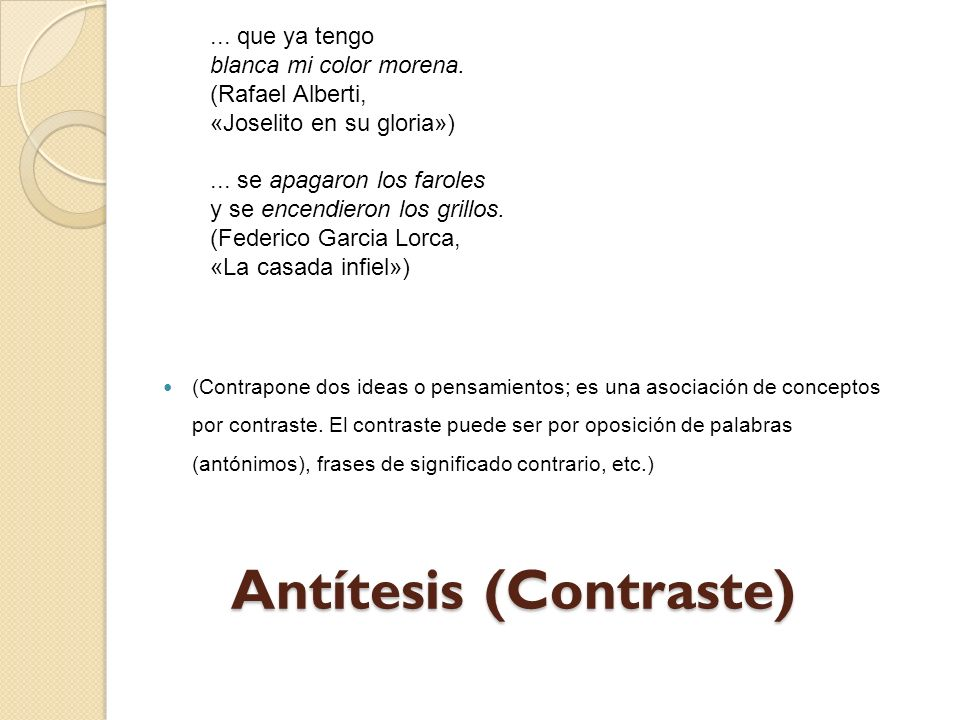 Antítesis (Contraste)