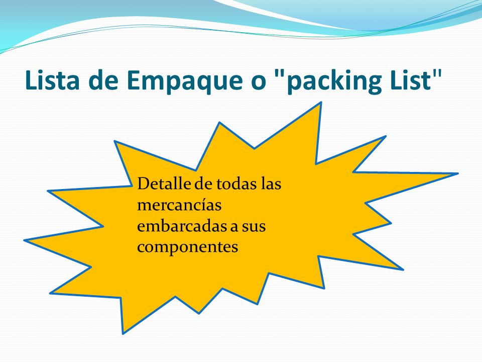Lista de Empaque o packing List