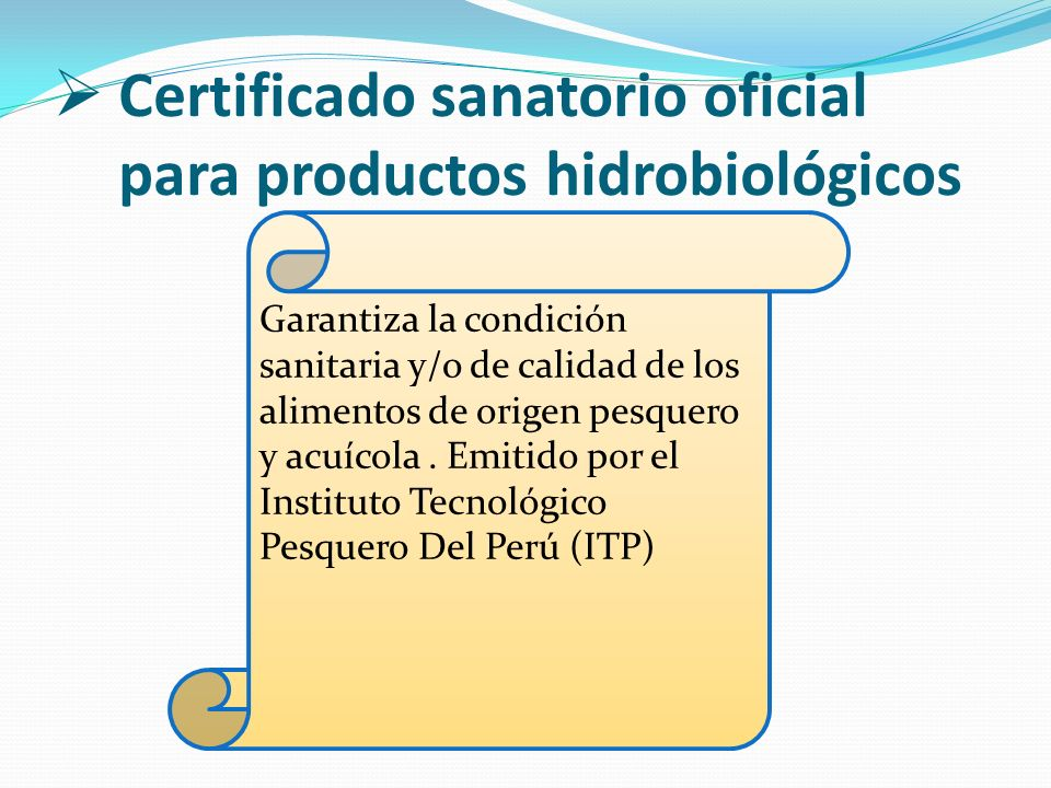 Certificado sanatorio oficial para productos hidrobiológicos