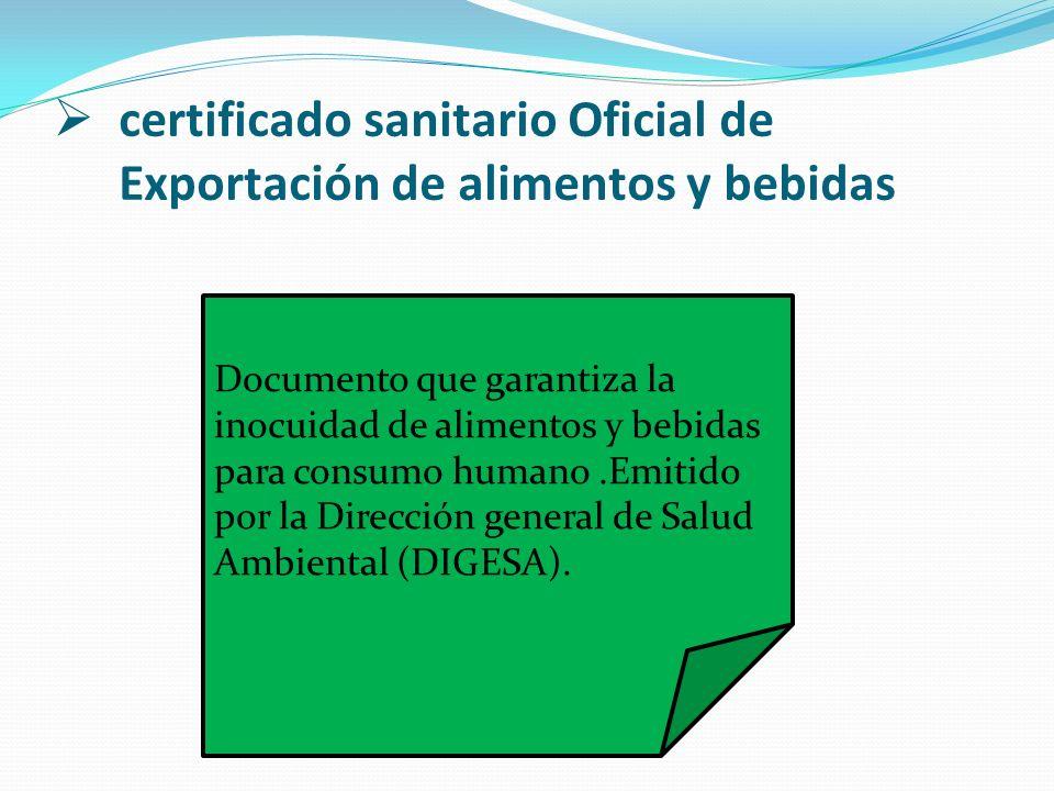 certificado sanitario Oficial de Exportación de alimentos y bebidas