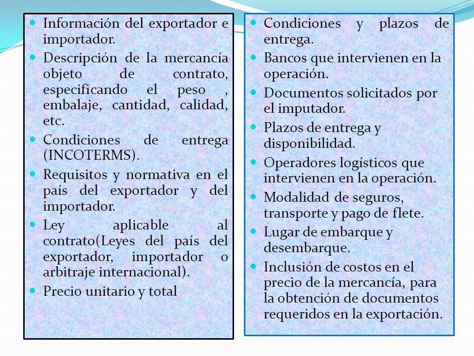 Información del exportador e importador.