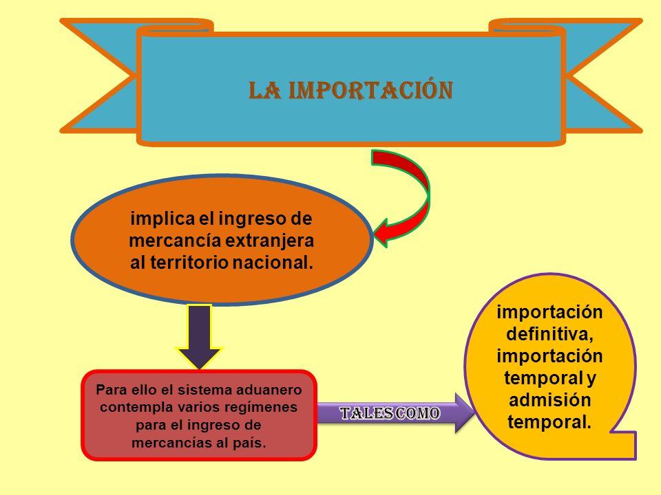 La importaciónimplica el ingreso de mercancía extranjera al territorio nacional. importación definitiva, importación temporal y admisión temporal.