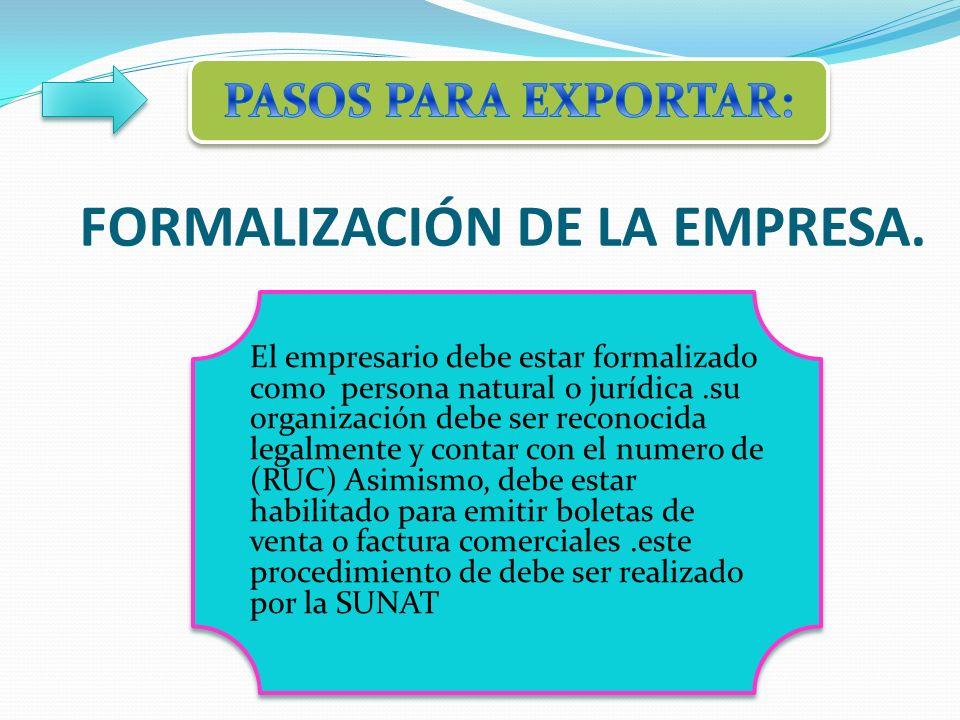 FORMALIZACIÓN DE LA EMPRESA.