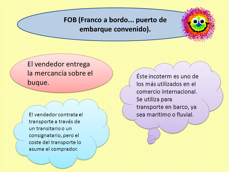 FOB (Franco a bordo... puerto de embarque convenido).