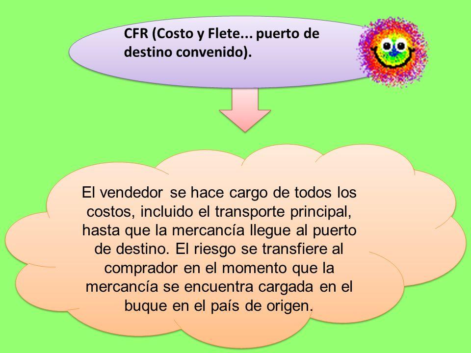 CFR (Costo y Flete... puerto de destino convenido).